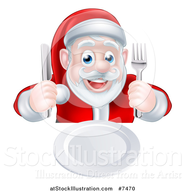 Vector Illustration of a Happy Hungry Christmas Santa Claus.
