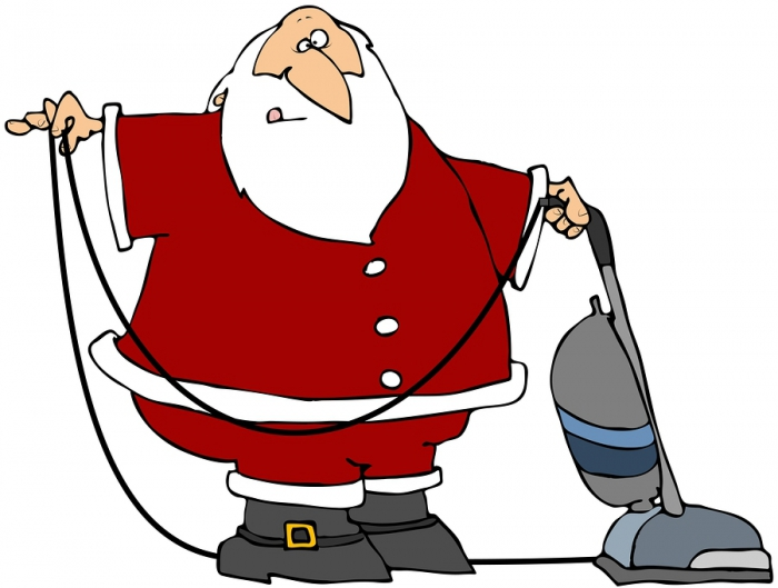Santa Cleaning House Clipart.