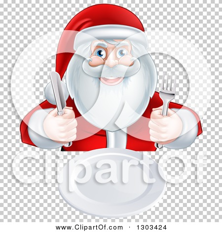 Clipart of a Happy Christmas Santa Claus Sitting with a Clean.