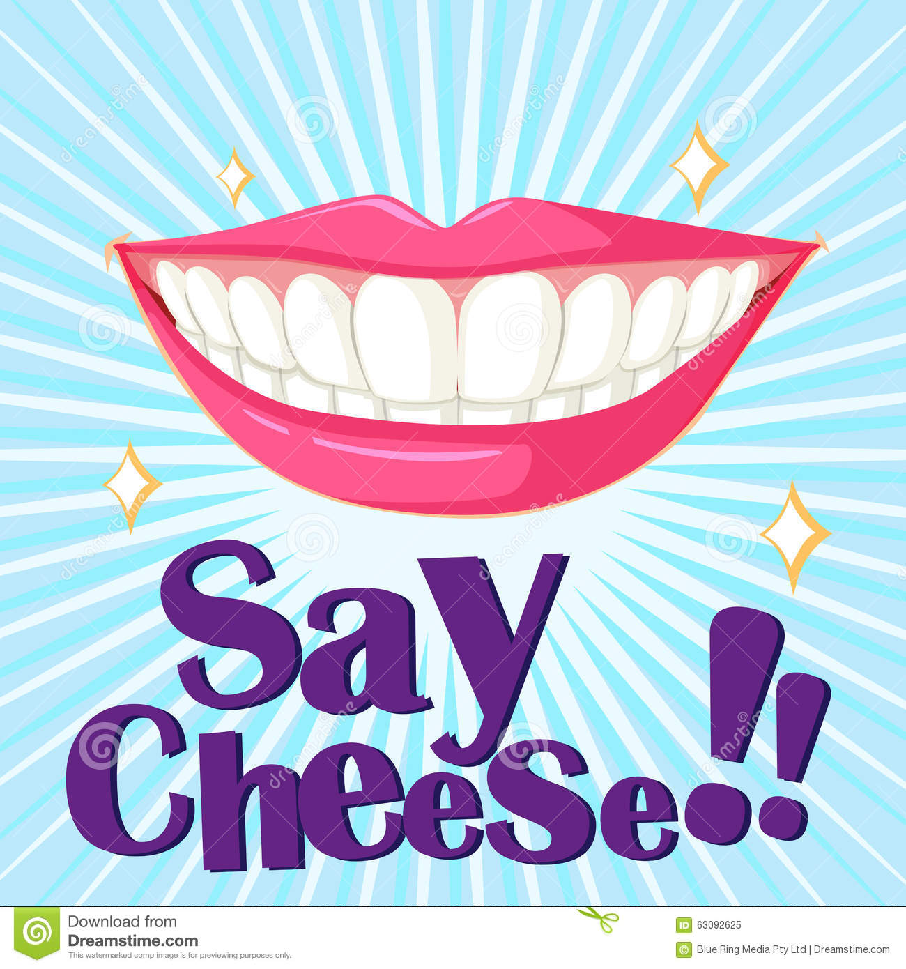 Beautiful Smile With Clean Teeth Stock Vector.