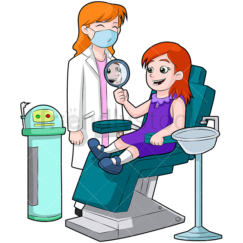 A Girl Sitting In A Dental Chair Looking At Her Clean Teeth In The Mirror.