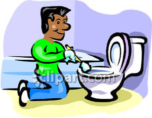 Cleaning The Bathroom Clipart.