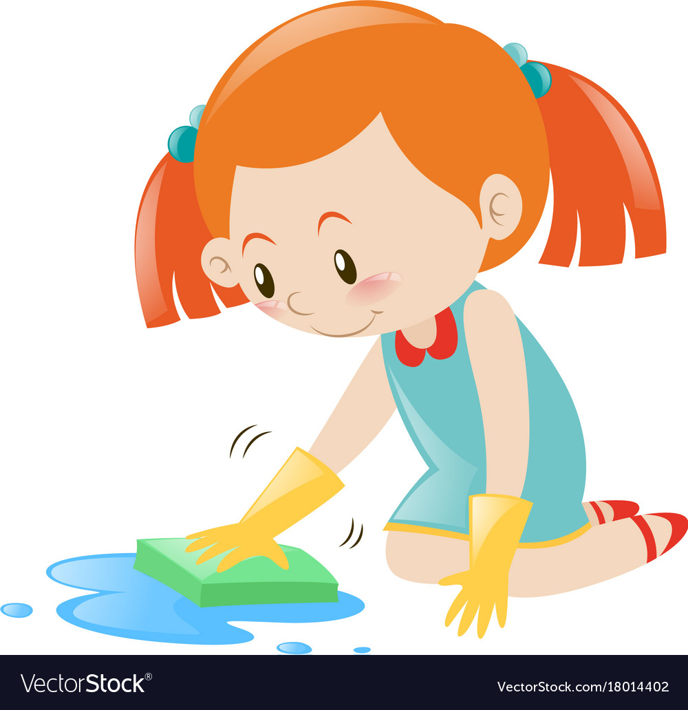 Little girl cleaning floor with sponge.
