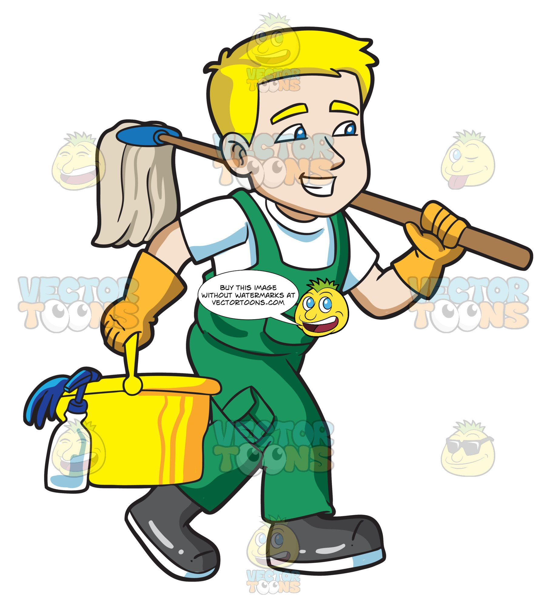 A Janitor On His Way To Clean A Floor.