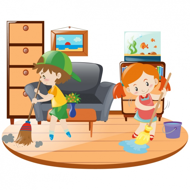 Children cleaning the house clipart » Clipart Station.