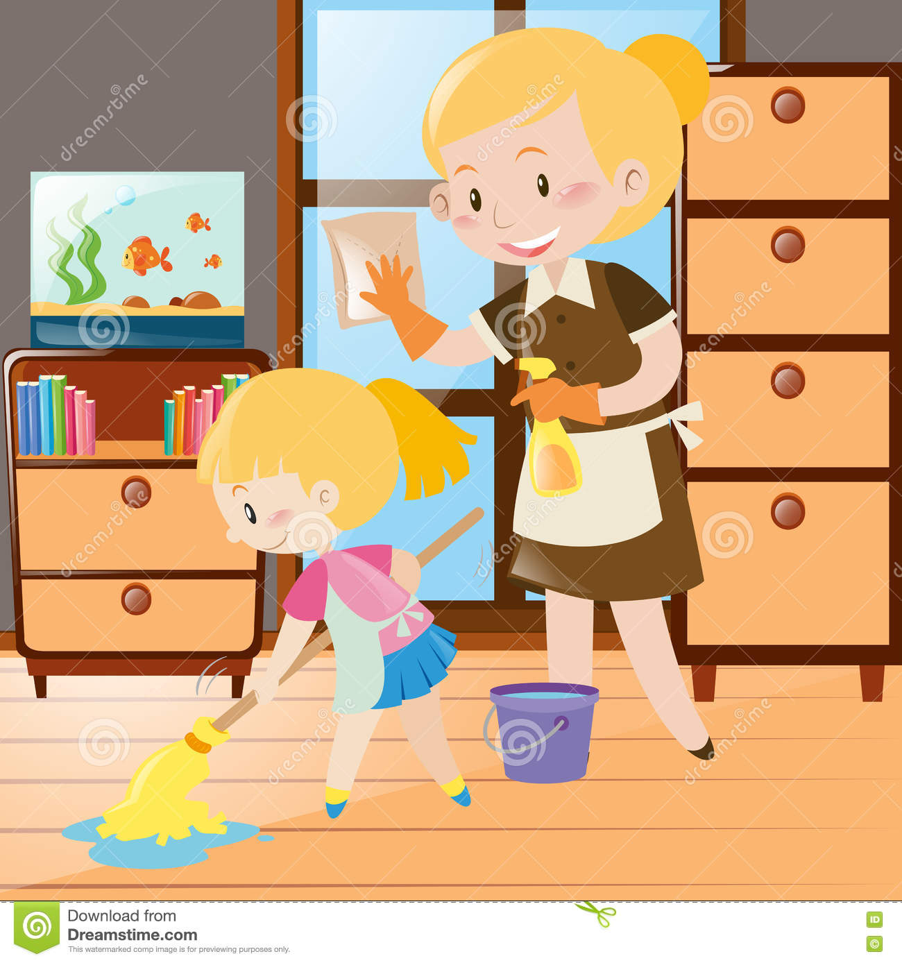 Mother Cleaning The House Clipart.