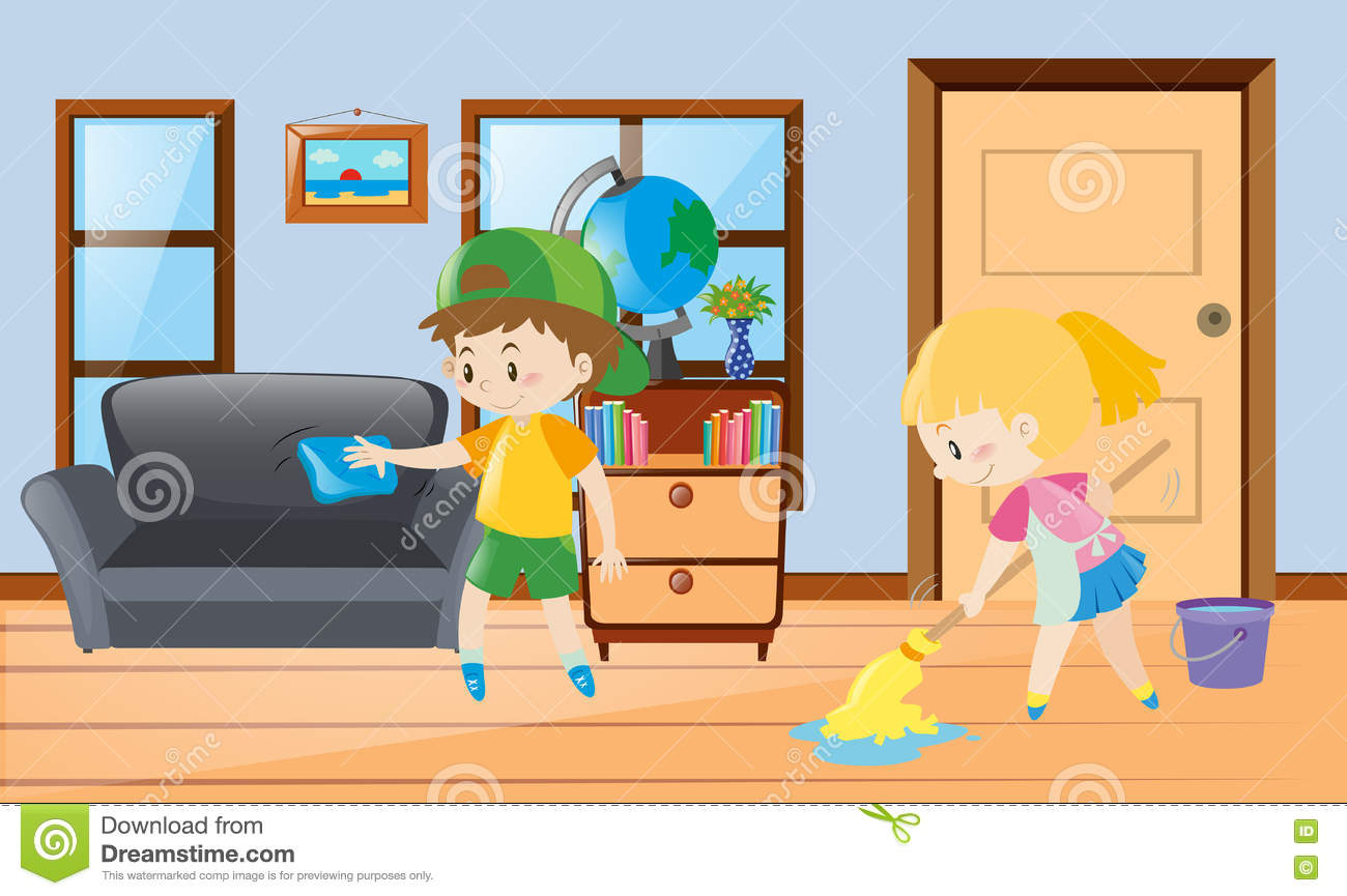 Girl Cleaning The House Clipart.