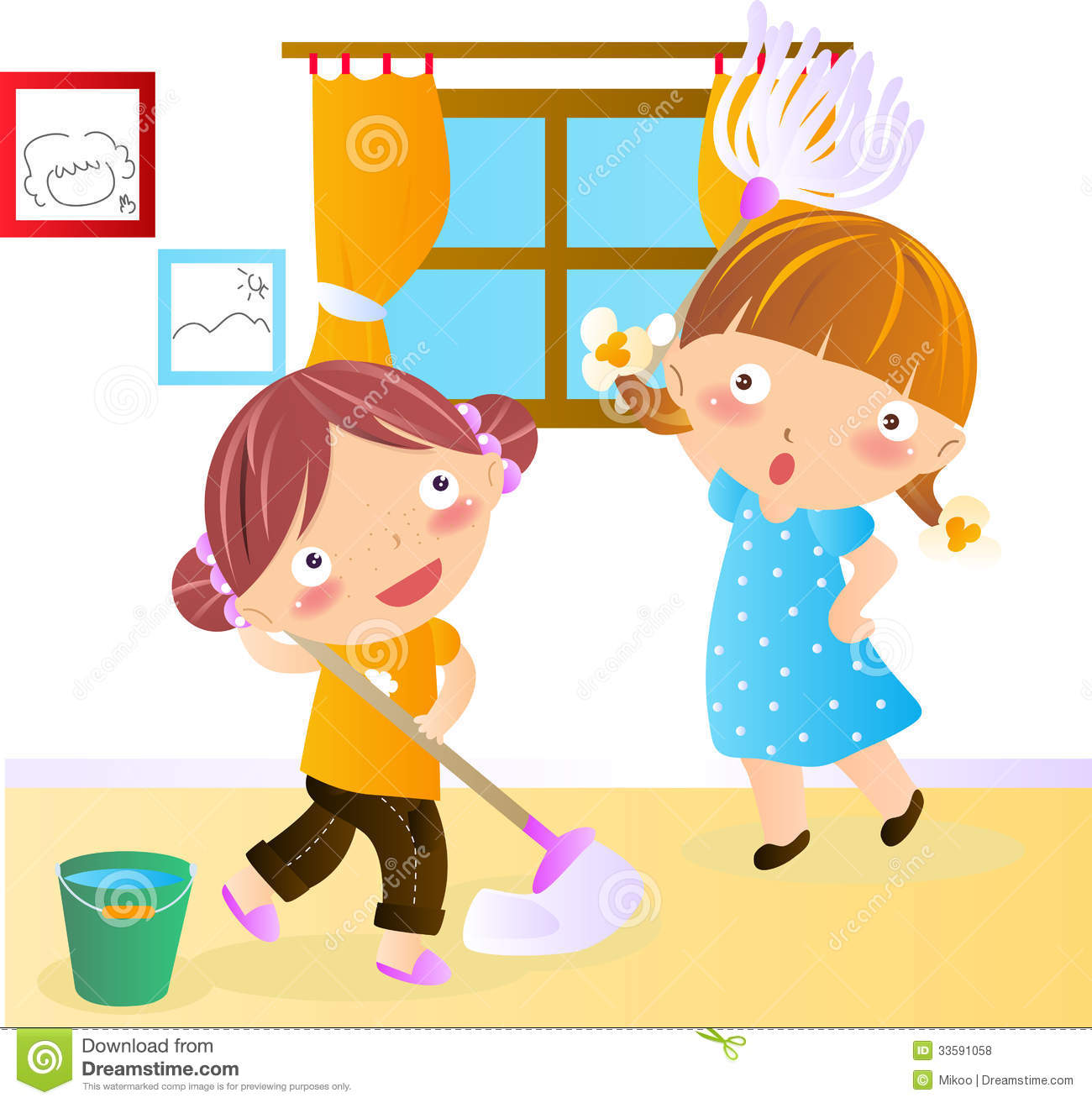 Kids Cleaning House Clipart.