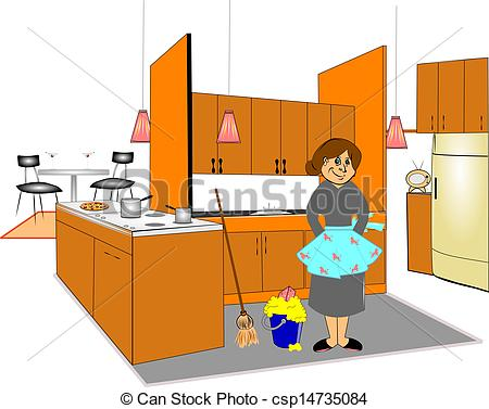 Cleaning Kitchen Clip Art.