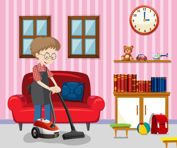 A Man Cleaning Living Room.