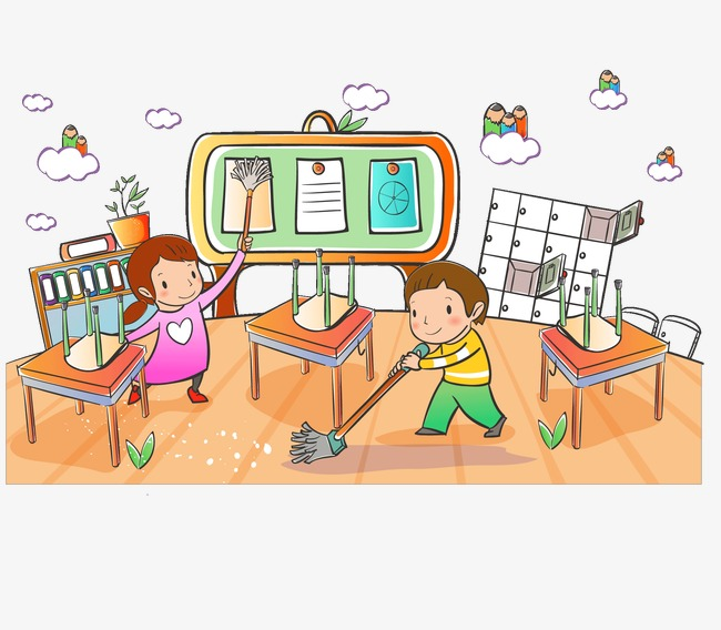 Students Clean The Classroom, Classroom Clipart, Go To School.