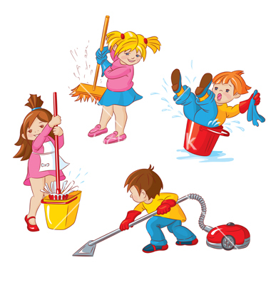 Kitchen clean up clipart.