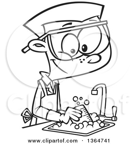 Cartoon Clipart of a Black and White Happy School Boy Cleaning up in.
