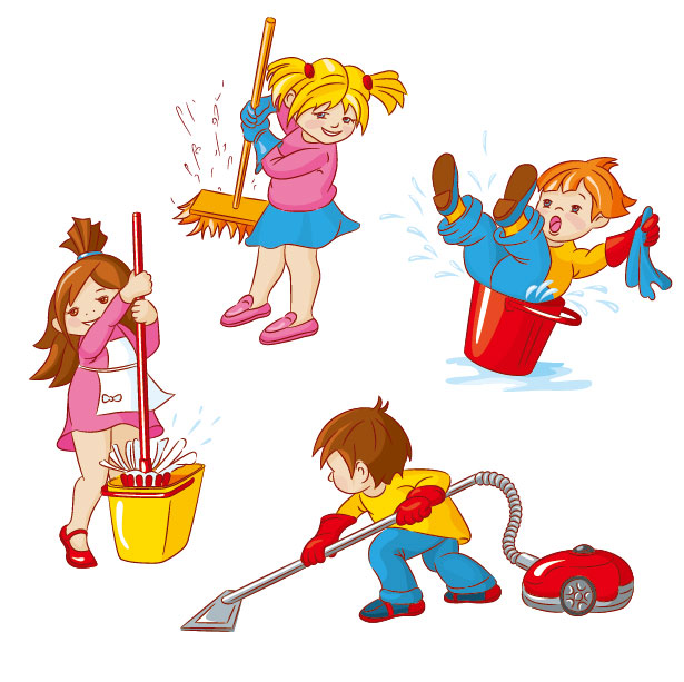 Kids Clean Up Toys Clip Art free image.