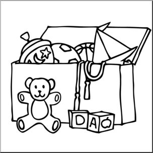 Clip Art: Toy Chest B&W I abcteach.com.