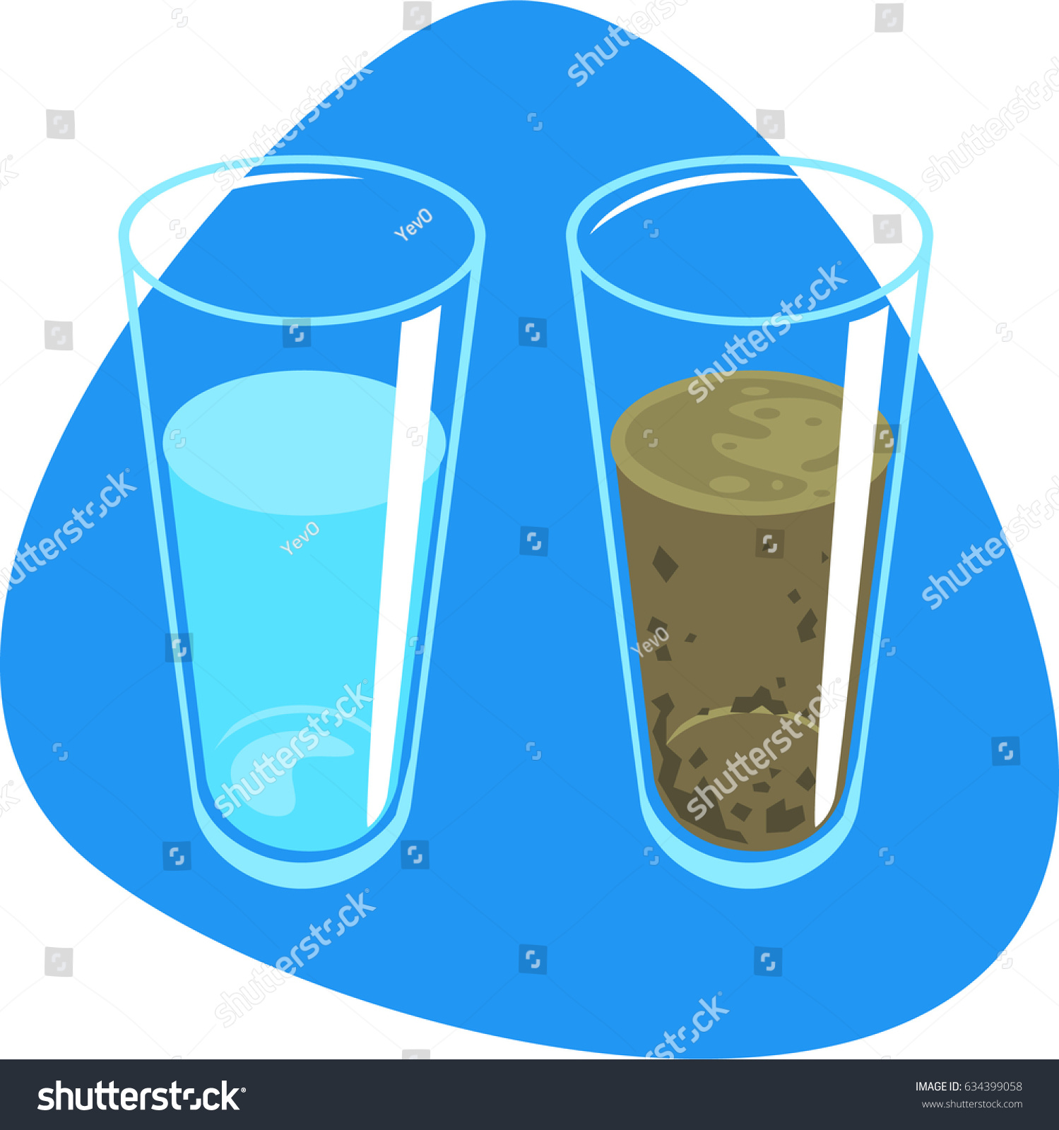 Clean Water Dirty Water Sludge Tall Stock Vector (Royalty Free.