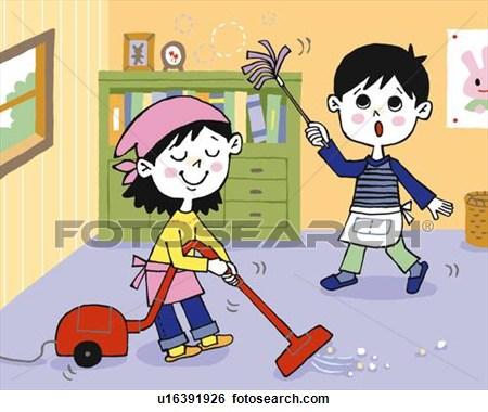 Kids clean room clipart girl.