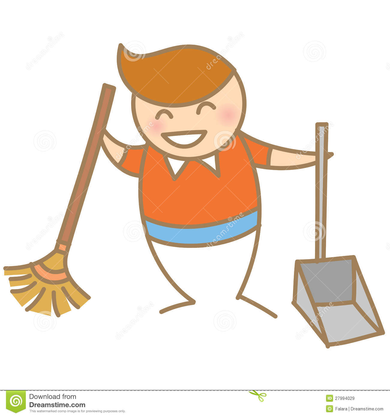 Clean Up Room Boy Cleaning House Smiling Clipart Free Clip Art