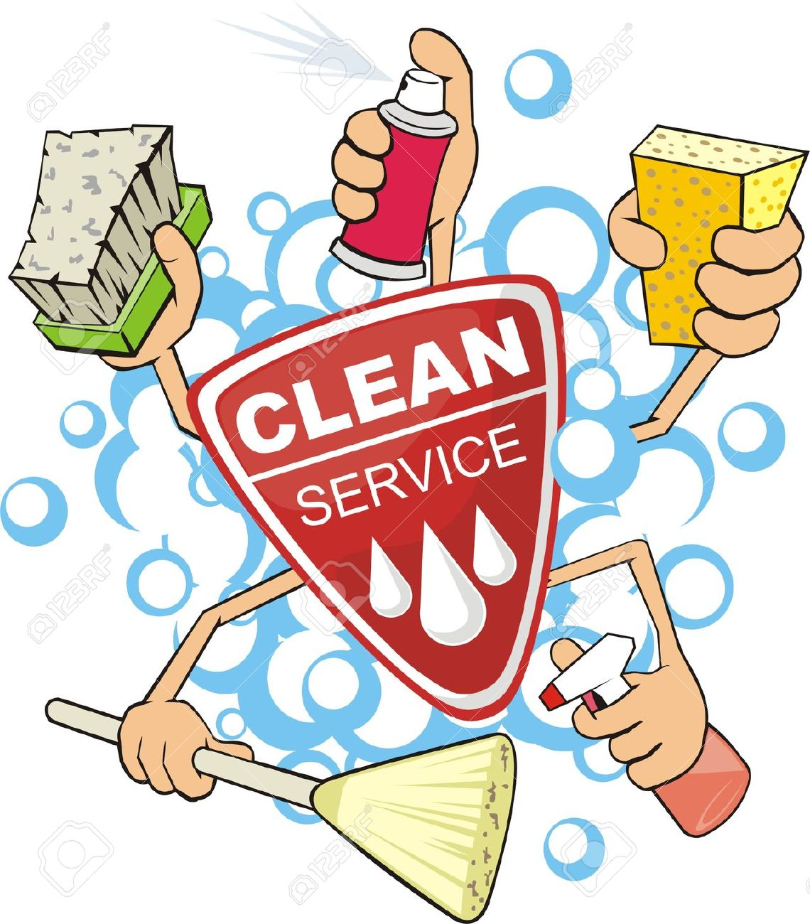 Kitchen Clean Up Cartoon: Cleaning Crew Clipart
