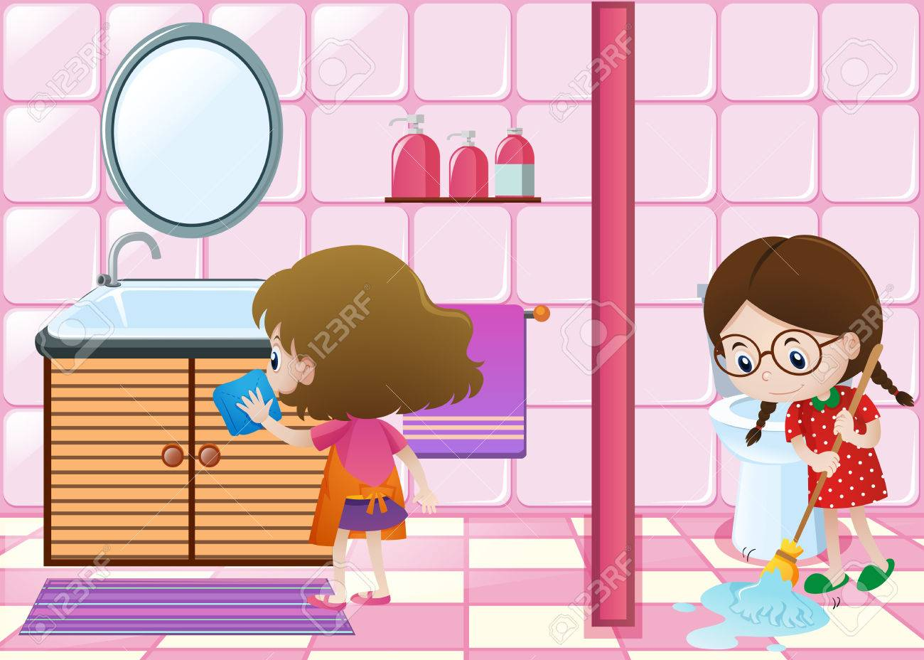 Two kids cleaning bathroom together » Clipart Station.