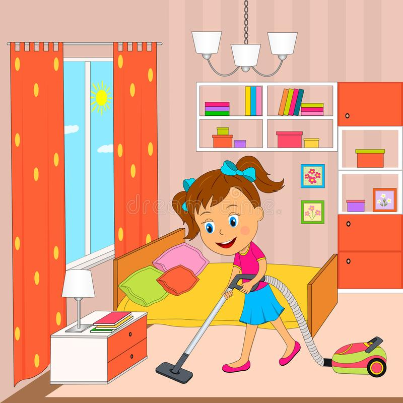 Cleaning Bedroom Stock Illustrations.