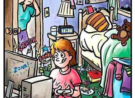 kids clean bedroom clipart.