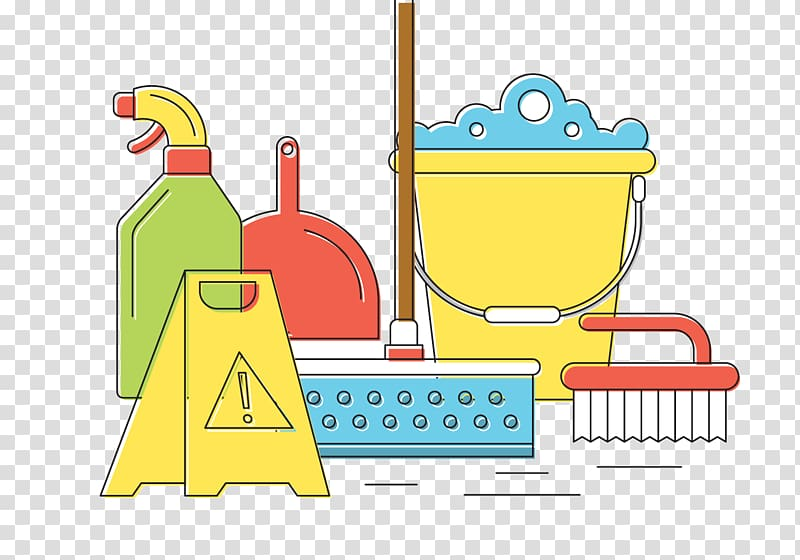 Spring cleaning , cleaning tools transparent background PNG.