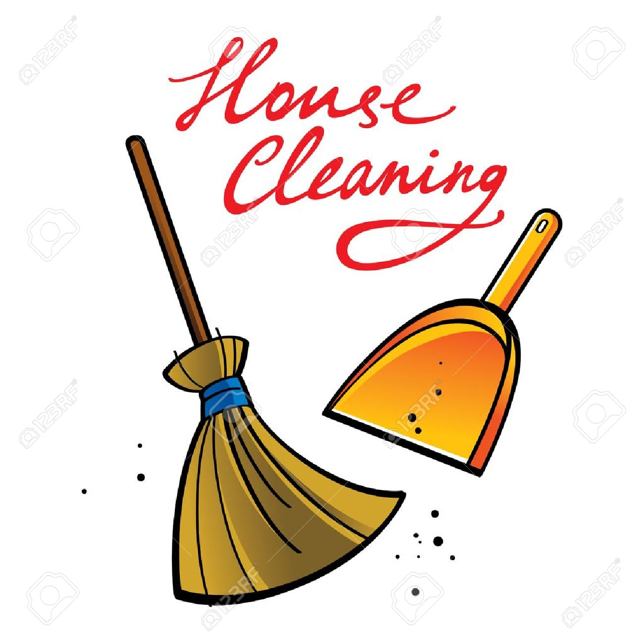 House Cleaning Broom Brush Dust Dirt Service Shovel Royalty Free.