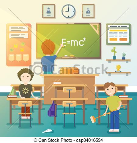 Vectors of Kids cleaning classroom. Vector illustration.
