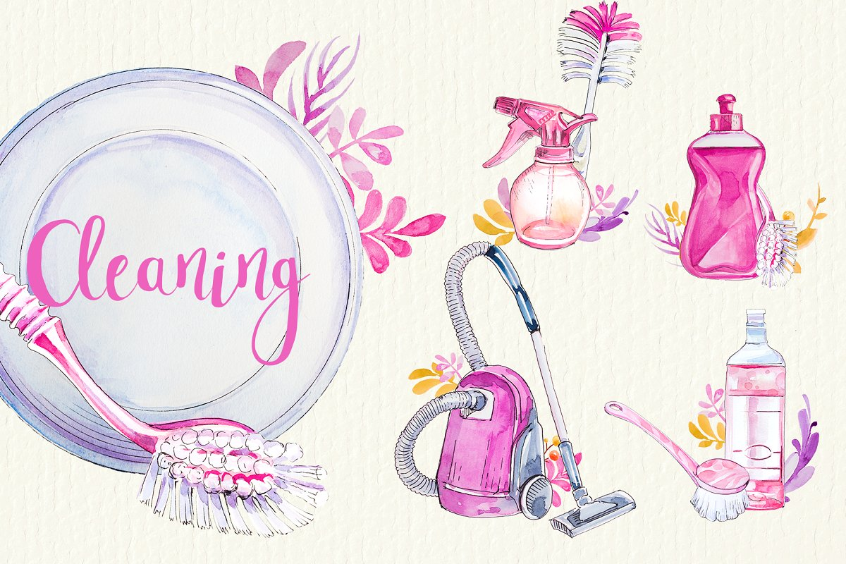 Watercolor Cleaning Clipart Set.