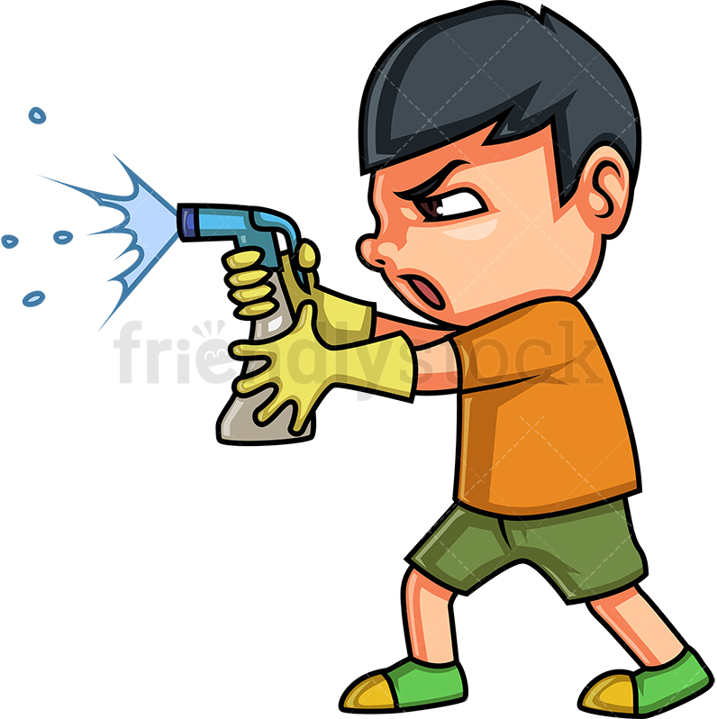 Little Boy Cleaning With Style.