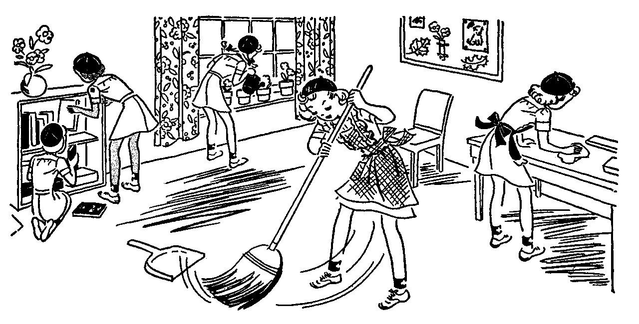 Cleaning The House Clipart Black And White.