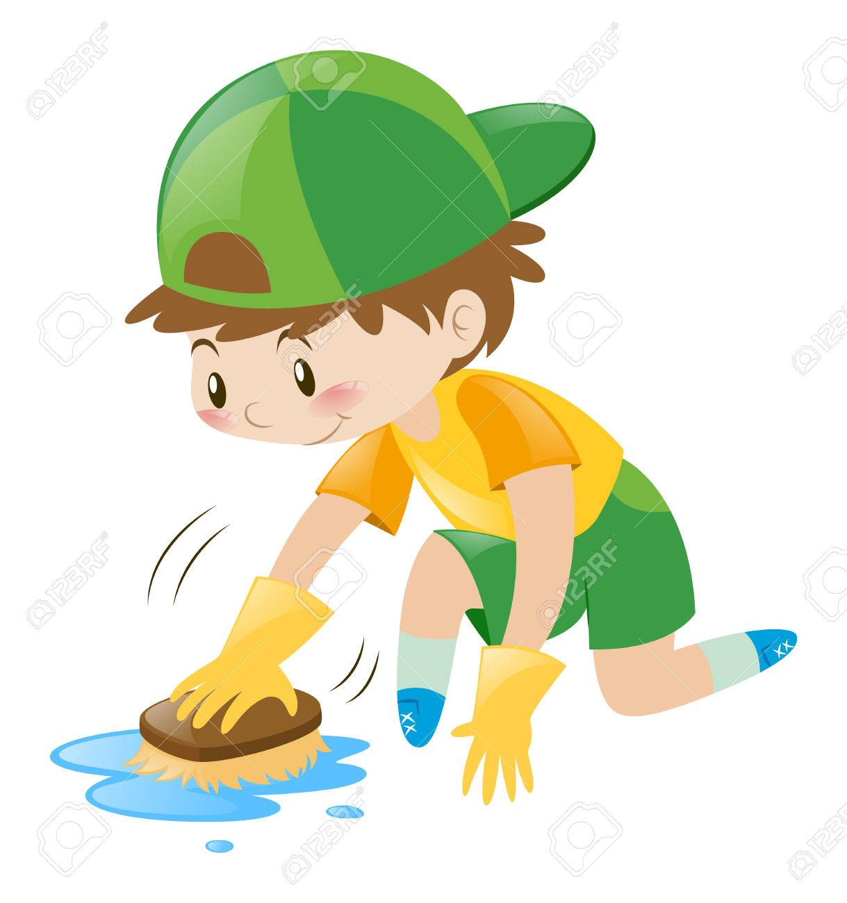 Boy cleaning the floor with brush illustration.