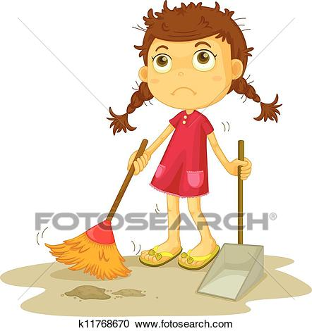Girl cleaning floor Clipart.