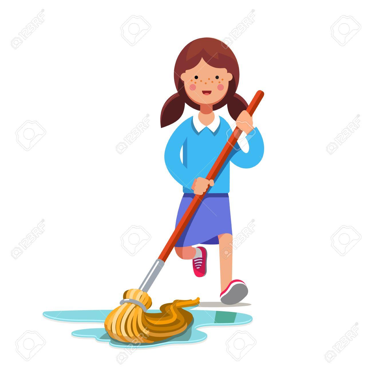 Kid cleaning floor with dust mop wet broom. Inspired girl doing...