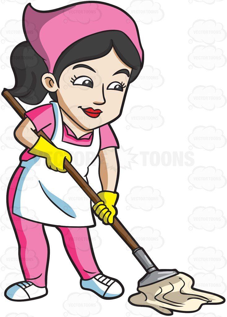 A maid mopping the floor #cartoon #clipart #vector #vectortoons.
