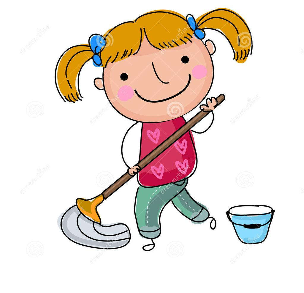 Girl Cleaning Clipart Cute Illustration Floor.