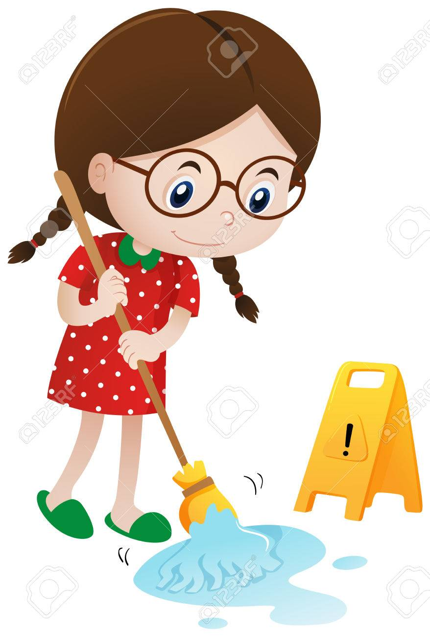 Girl cleaning wet floor with mop illustration.