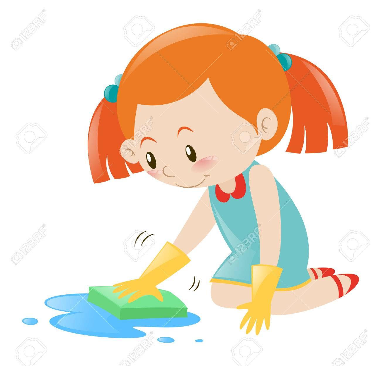 Little girl cleaning floor with sponge illustration.