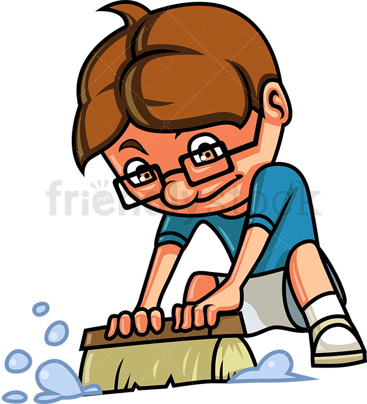 Kid Cleaning The Floor.