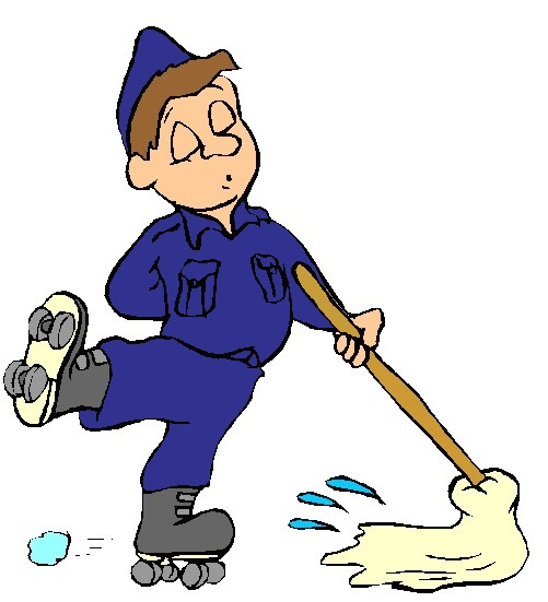 Floor cleaning clipart kid.
