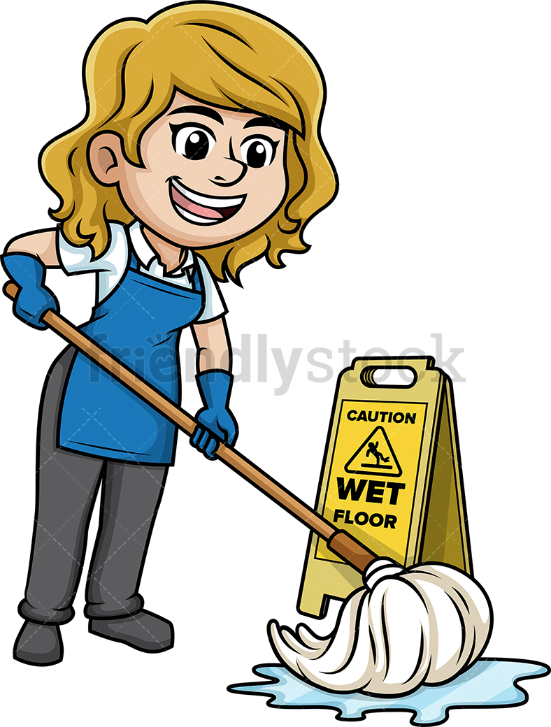 Woman Mopping The Floor.