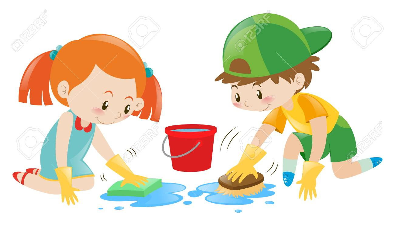 Boy and girl cleaning the floor illustration.