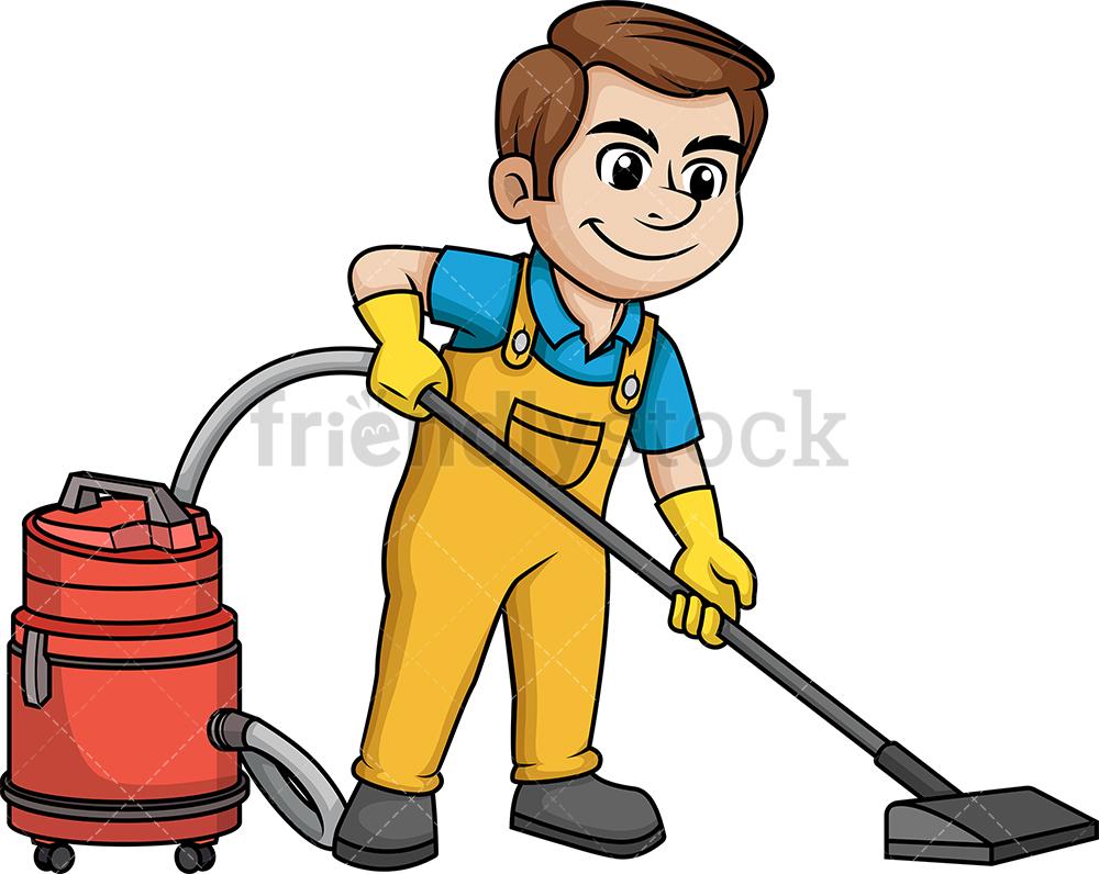 Man Vacuuming The Floor.