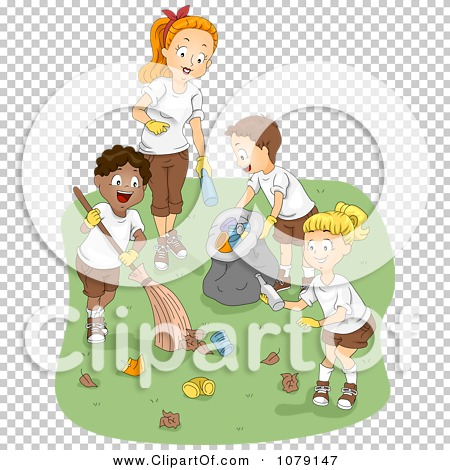 Clipart Summer Camp Counselor And Kids Cleaning Up Garbage.