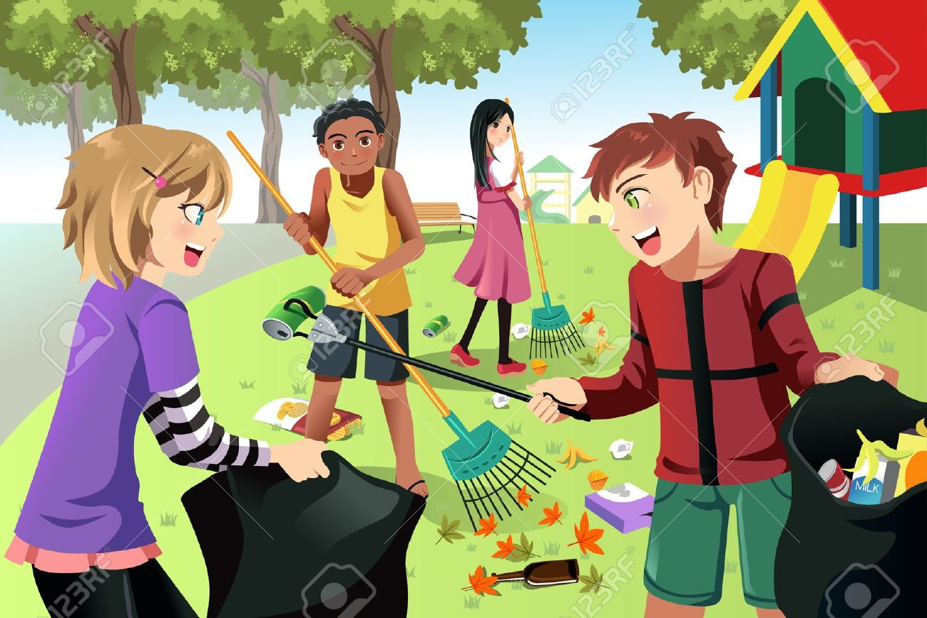 kids cleaning the environment clipart #1