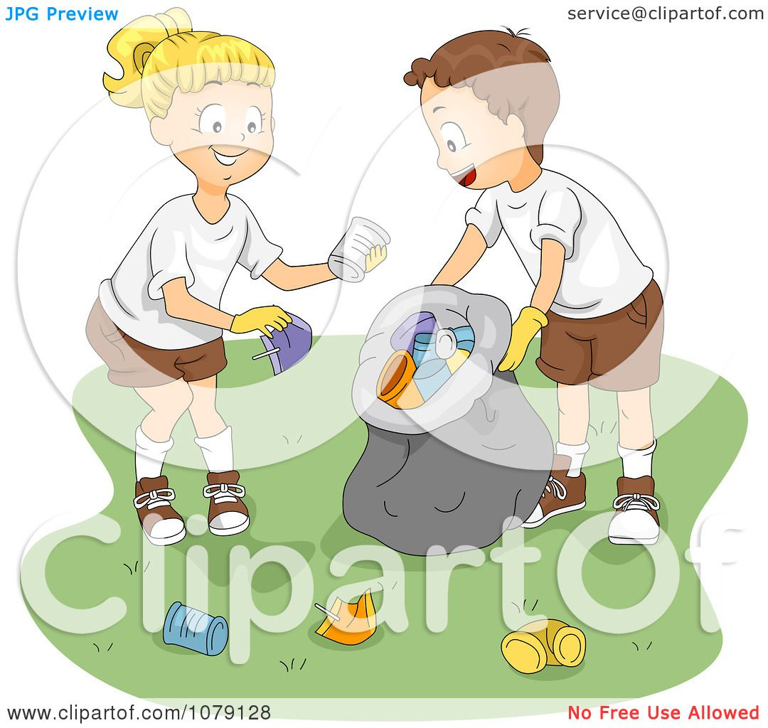 Clipart Summer Camp Kids Cleaning Up Garbage.