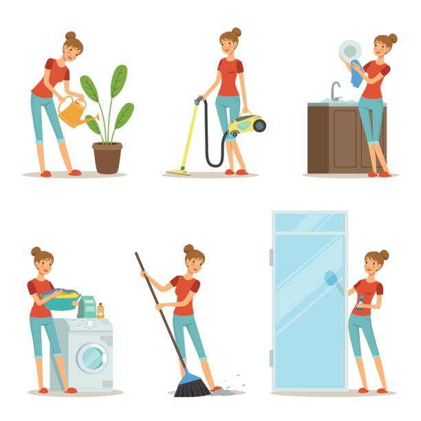 Best Mom Cleaning House Illustrations, Royalty.