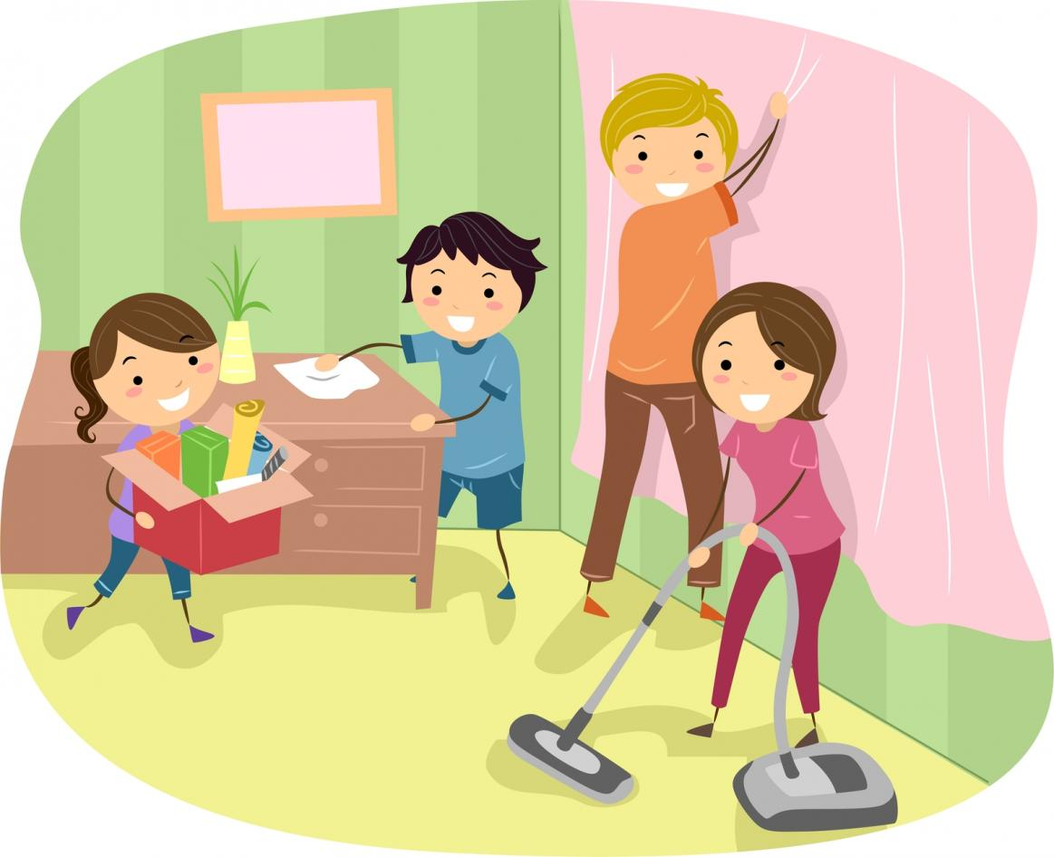 Children helping parents in cleaning house clipart » Clipart Station.