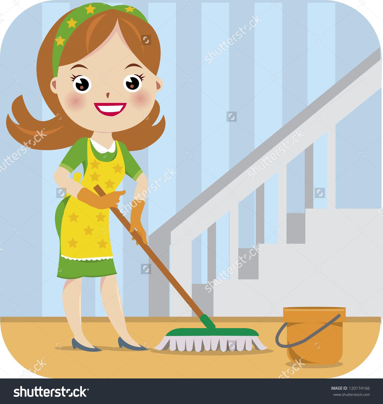 Me madre limpia la casa..